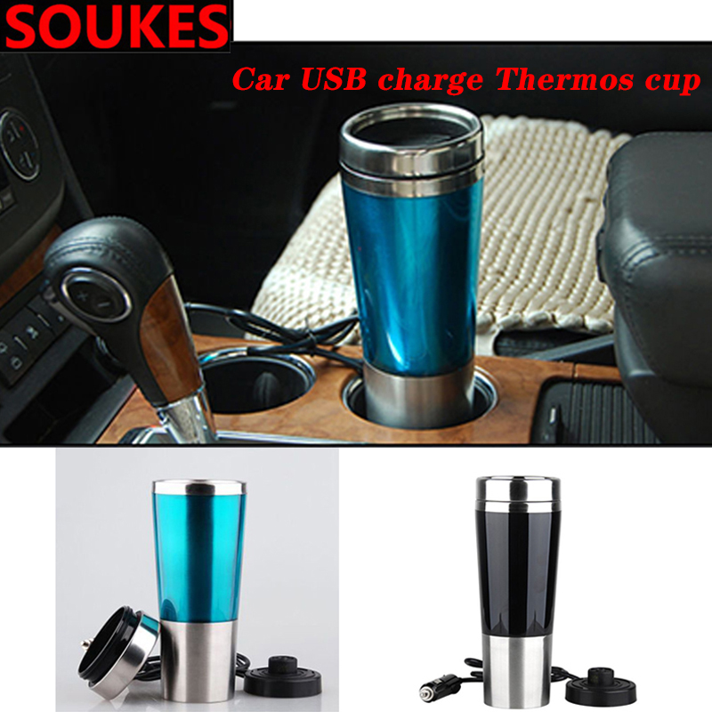 100° Car Center Console <font><b>USB</b></font> Charge Heating Thermos Cup For Alfa Romeo 159 147 156 166 GT Mito Acura MDX RDX TSX <font><b>Fiat</b></font> <font><b>500</b></font> Punto image
