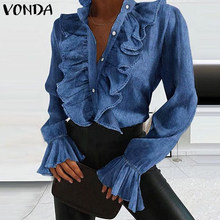 Elegante Frauen Bluse Shirts Demin Büro Damen Tops 2021 VONDA Casual Langarm Revers Neck Party Shirts Plus Größe Women'Tunic