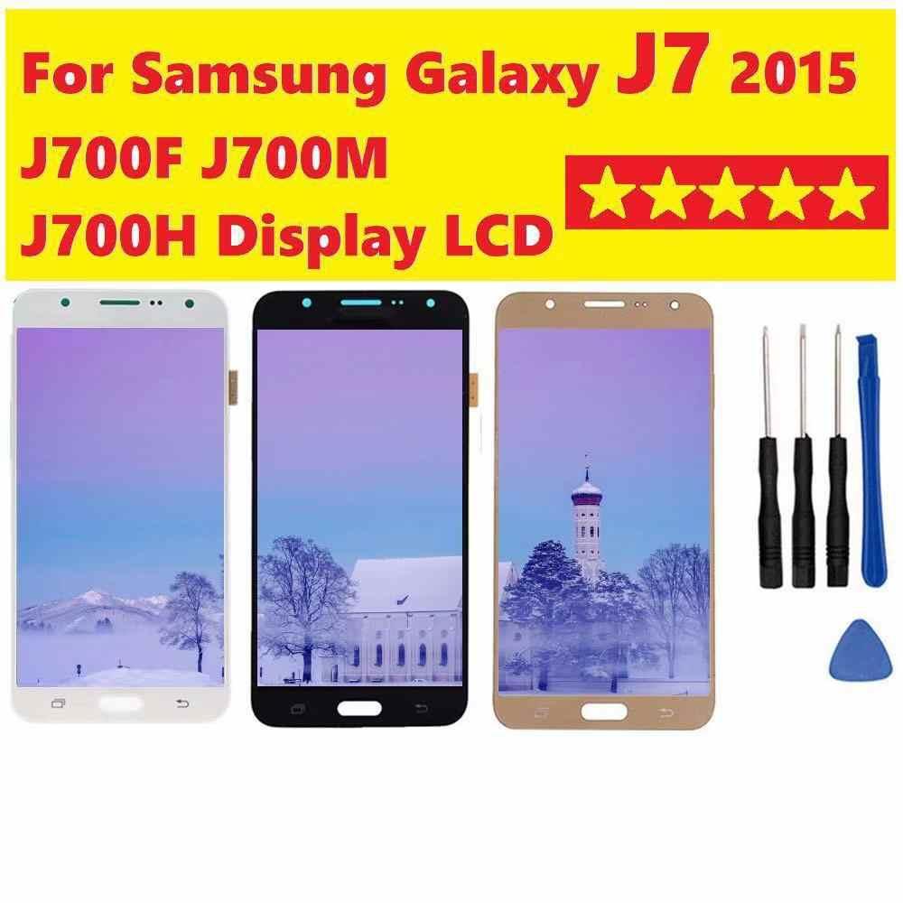 لسامسونج غالاكسي J7 2015 J700F SM-J700M J700H J700DS شاشة الكريستال السائل محول الأرقام اللمس شاشة بدائل لسامسونج J7 2015 lcd