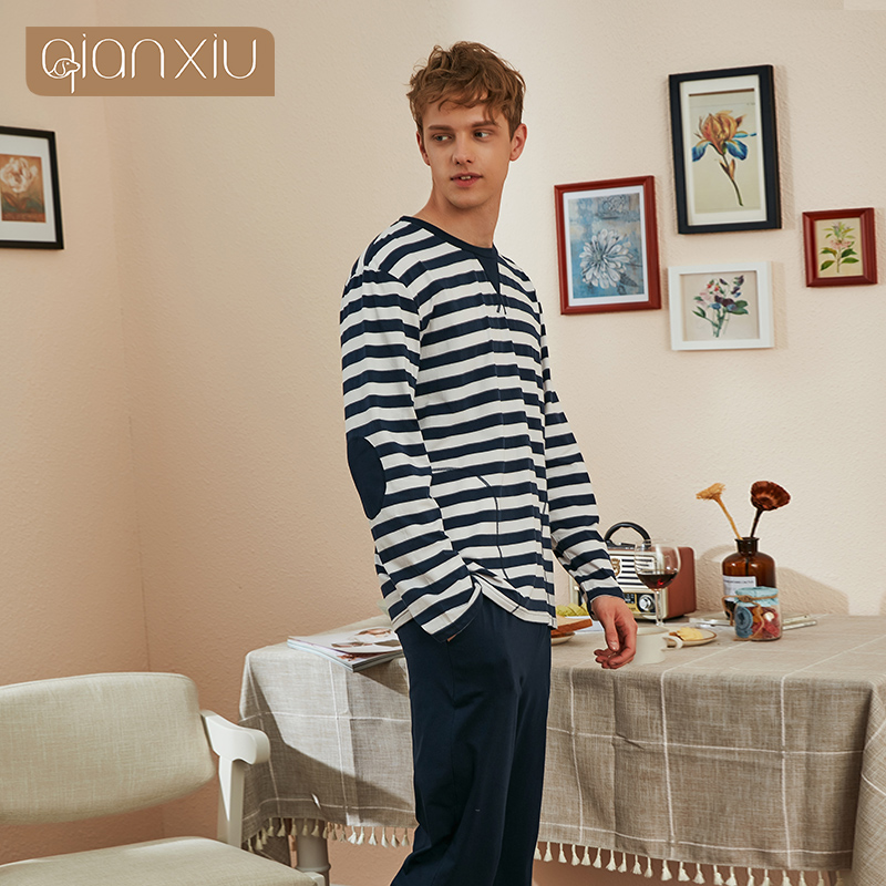 QianXiu 2019 New Autumn Winter Men's Cotton Round Neck Striped Head Long Sleeve Pajamas Suit Comfortable Home Service