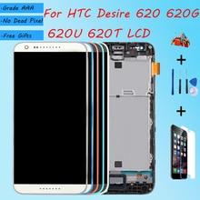 Dành Cho HTC Desire 620 620U 620T 620G Màn Hình LCD Màn Hình Với Ốp Mặt Trước Mặt Kính Cảm Ứng, d620h Màn Hình LCD Hiển Thị Ban Đầu Đen Trắng