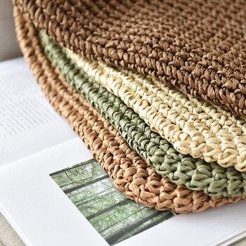 Women Handbag Summer Beach Bag Rattan Woven Handmade Knitted Straw Large Capacity Totes Leather Women Shoulder Bag Bohemia New 5
