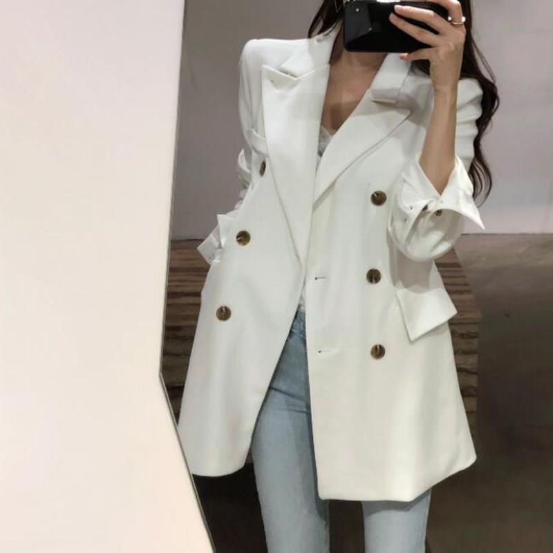 2019 Fall Winter Elegant Double-Breasted Blazer Casual Solid Long Sleeve Pockets Jacket Korea Style Notched Lapel Blazer