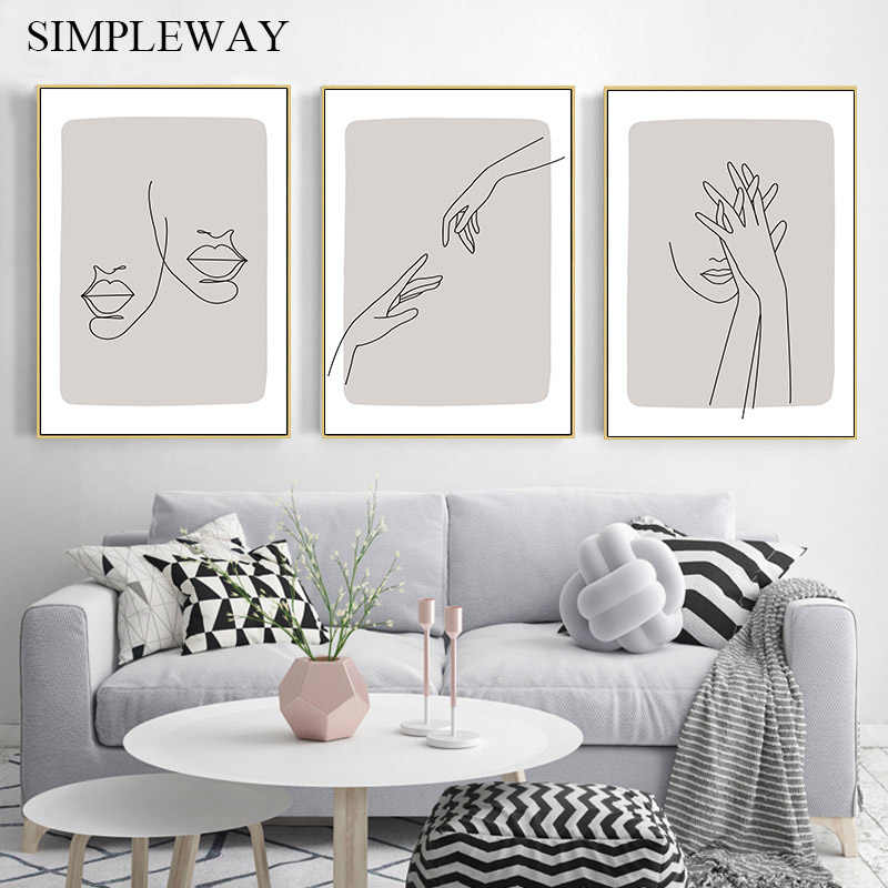 Abstract Art Canvas Poster Modern Line Drawing Face Print Minimalist Wall Painting Nordic Decorative Picture Home Hallway Decor