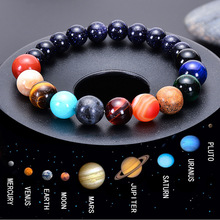 2019 Natural Stone Beads Bracelet Universe Eight Plants Galaxy Solar System Beaded Bracelets for Women Men Fashion Jewelry
