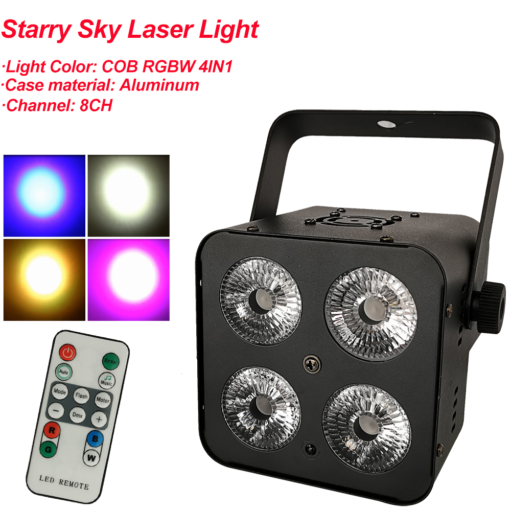RGBW 4IN1 Mini COB LED Par Light Wireless Remote Control Stage Bright Smooth Lighting Lamp DJ DMX Lights For Party Bars Show