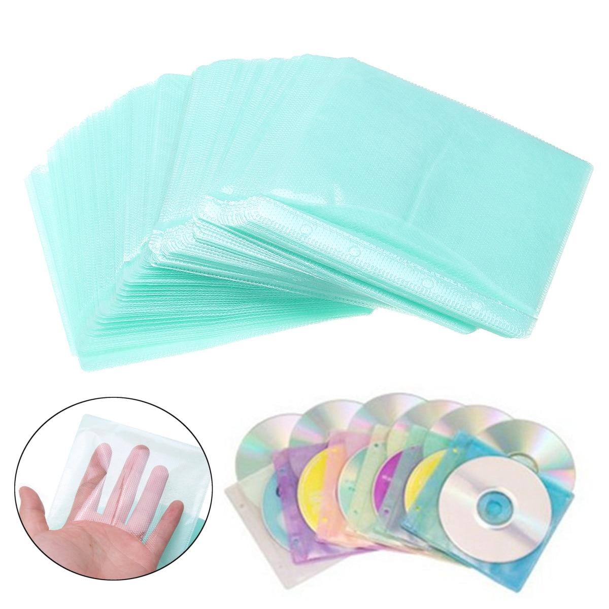 Estojo de armazenamento lateral dupla do disco, capa de cd dvd, saco de plástico, suporte da manga, 100 peças
