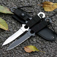 Handmade Camping Stainless Steel Diving Straight knife Outdoor Survival Camping Tactical Knife with Nylon Case Sheath