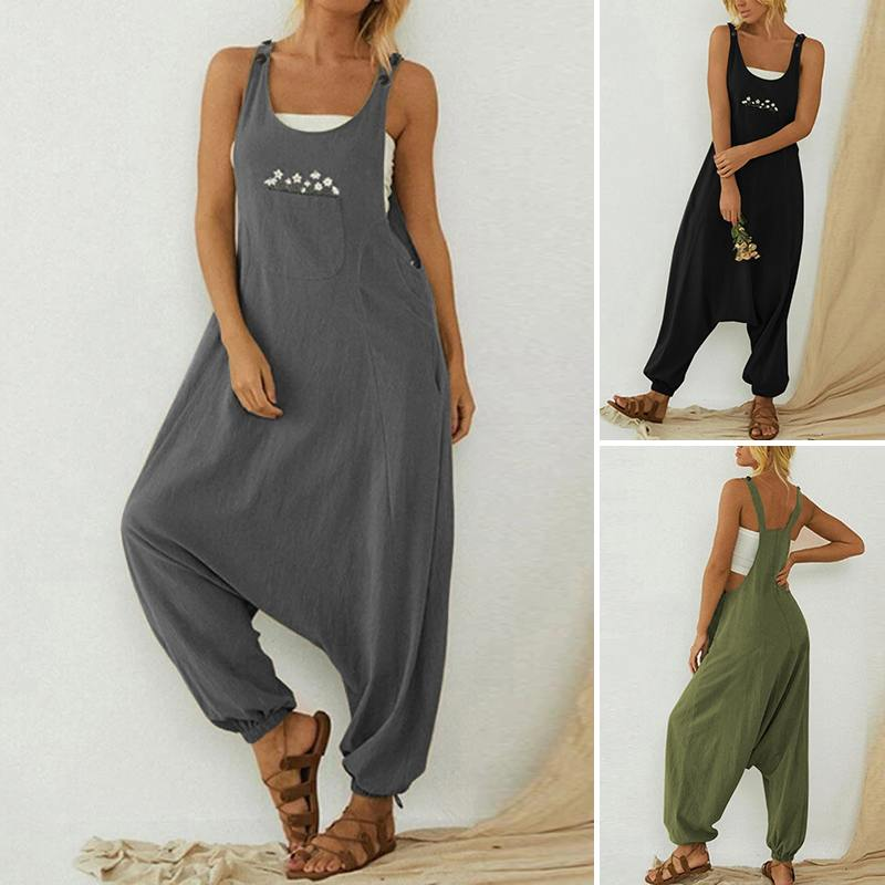 ZANZEA Summer Women Jumpsuits Solid Casual Loose Harem Playsuits O-Neck Embroidery Overalls Front Pockets Sleeveless Rompers 5XL