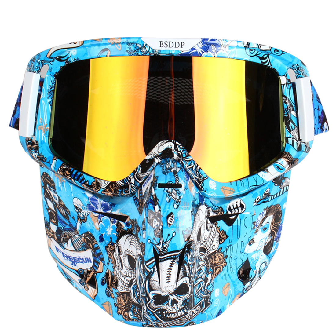Graffiti Style Tactical Face Protective Mask Detachable Motorcycle Goggles Mask For Outdoor Airsoft Battle Tactical Gear 2019