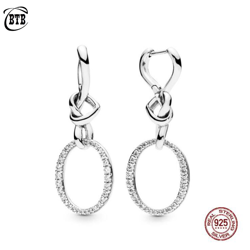 Original PAN 925 Sterling Silver Drop Earrings Love Knotted Heart Woman CZ Earring Charm DIY Jewelry Valentine's Day Gift-in Drop Earrings from Jewelry & Accessories
