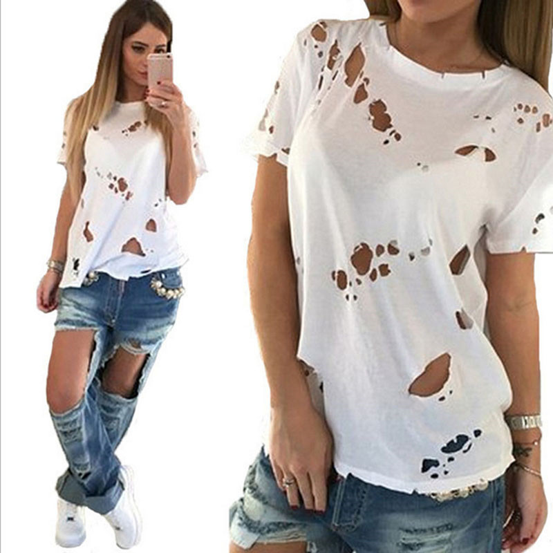 Sexy Women Hole Tee 2020 Summer Fashion Casual O-Neck Short Sleeve Solid Hole T Shirts  Tees Tops White Female Clothing