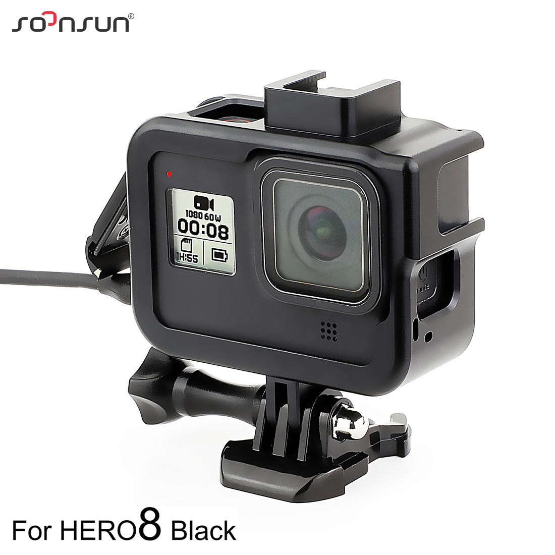 Metal Case 2 in 1 Housing Shell CNC Aluminum Alloy Protective Frame Cage with Lens Frame for GoPro HERO4 //3+ Black Color : Red