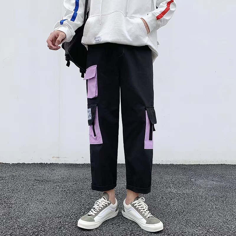 French Bib Overall Men's Straight-Cut Korean-style Trend Students Loose-Fit Contrast Color Multi-pockets Online Celebrity INS Ho