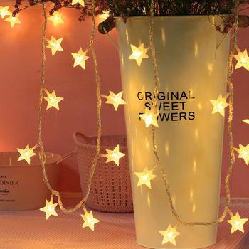 10 20 gwiazda świetlna LED String Twinkle girlandy zasilany z baterii lampa wakacje nowy rok ozdoby choinkowe dla domowa wróżka światła tanie i dobre opinie LBTFA CN (pochodzenie) 1 YEAR CHRISTMAS Z tworzywa sztucznego Żarówki led Brak Klin Suche baterii 300cminch 6-10m WHITE