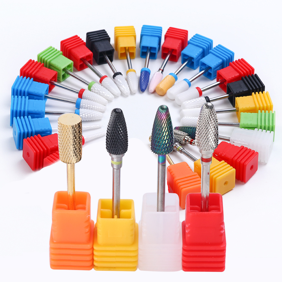 Nail Drill Bits Ceramic Carbide Diamond Milling Cutter Manicure Pedicure Electric Nail Drills Gel Removing Accessories TRZL01-25
