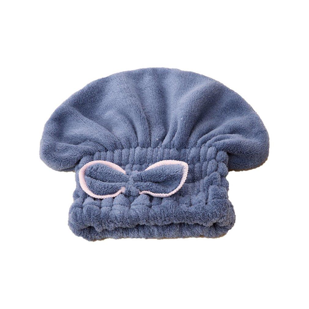 Microfiber Dry Hair Cap Shower Cap Coral Velvet Shower Cap Bow Coralline Bathing Cap Super Strong Water AbsorptionBlue