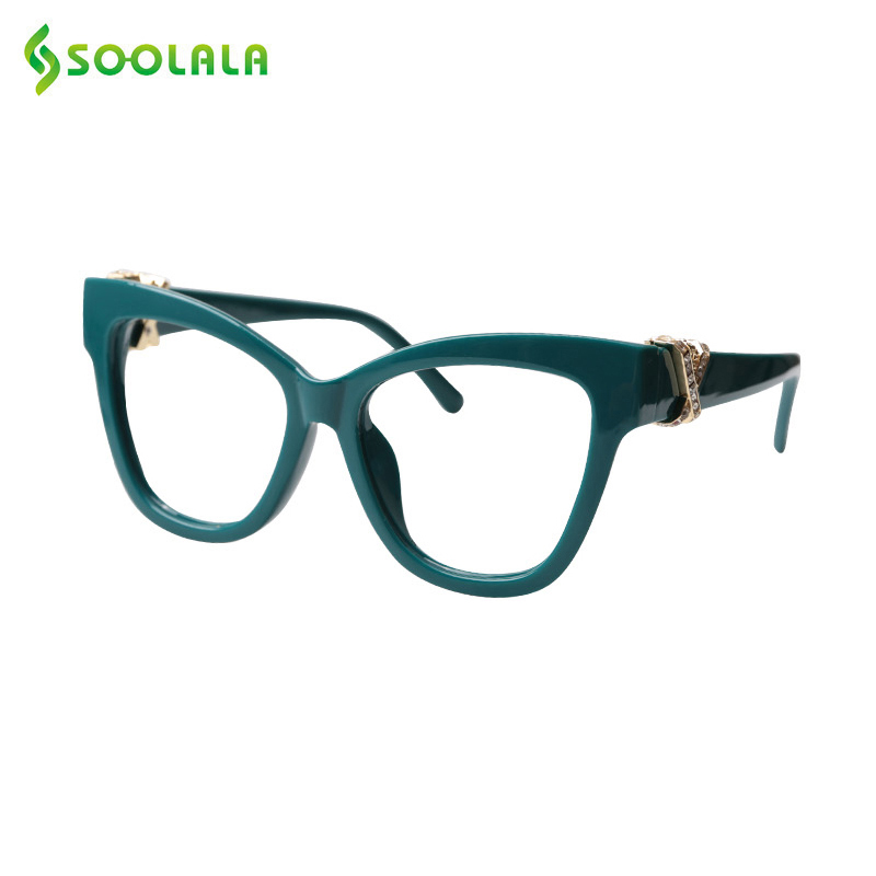 SOOLALA Cat Eye Reading Glasses Women With Cross Rhinestone Hypermetropia Presbyopic Reading Glasses Frame With Cases 0.5 1.0