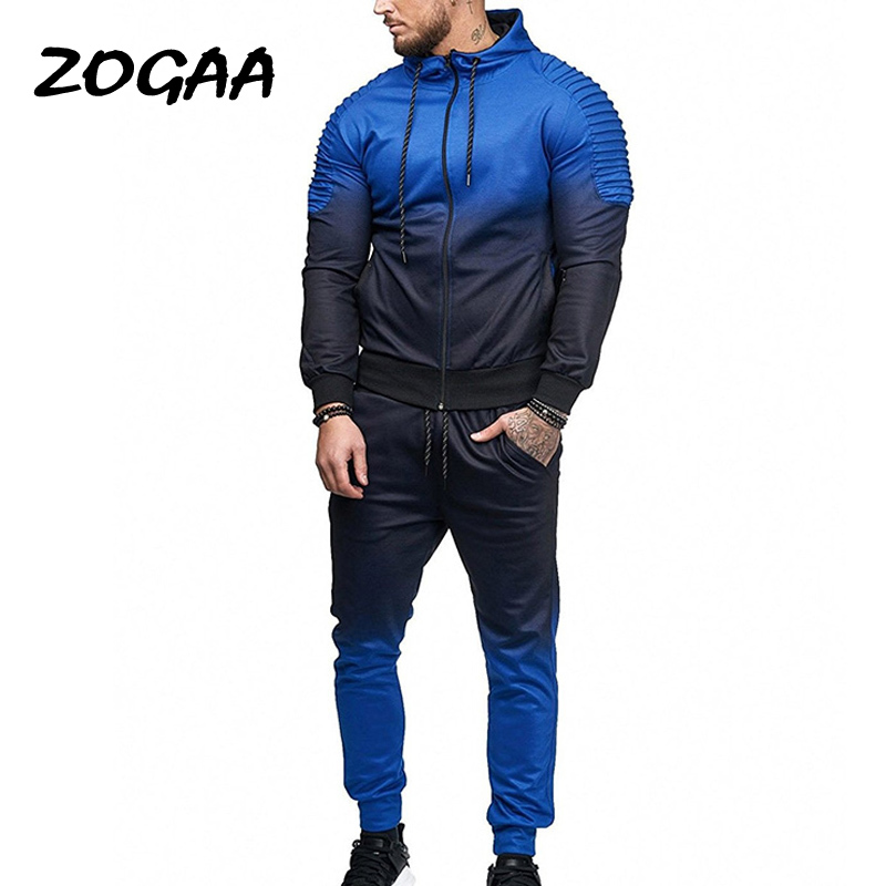 ZOGAA Hot 2020 New Autumn Men Tracksuit Sport Set 3D Print Striped Shirt Long Sleeve Fitness Pants Running Suit Jacket Trousers