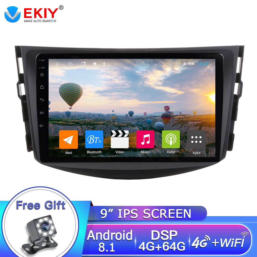 EKIY 9''Android 8.1 Car Dvd Player For <font><b>Toyota</b></font> <font><b>RAV4</b></font> 2007 2008 2009 <font><b>2010</b></font> 2011 4G+64G 2 Din 1024*600 Gps Navigation Wifi Octa Core image