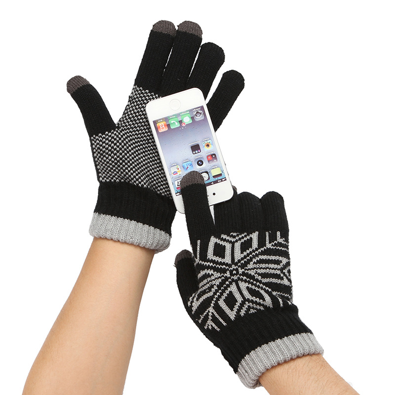 Winter Autumn Touch Screen Knitted Gloves Men High Quality Male Thicken Warm Wool Cashmere Solid Gloves Mitten Business Gloves
