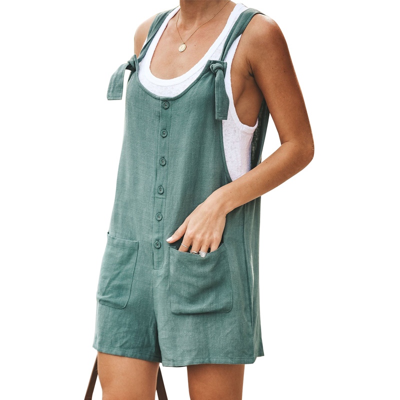 Kidsform Peto para Mujer Verano Retro Pantalones de Gran Tama/ño Chic Mono sin Mangas con Bolsillos Sueltos Slim