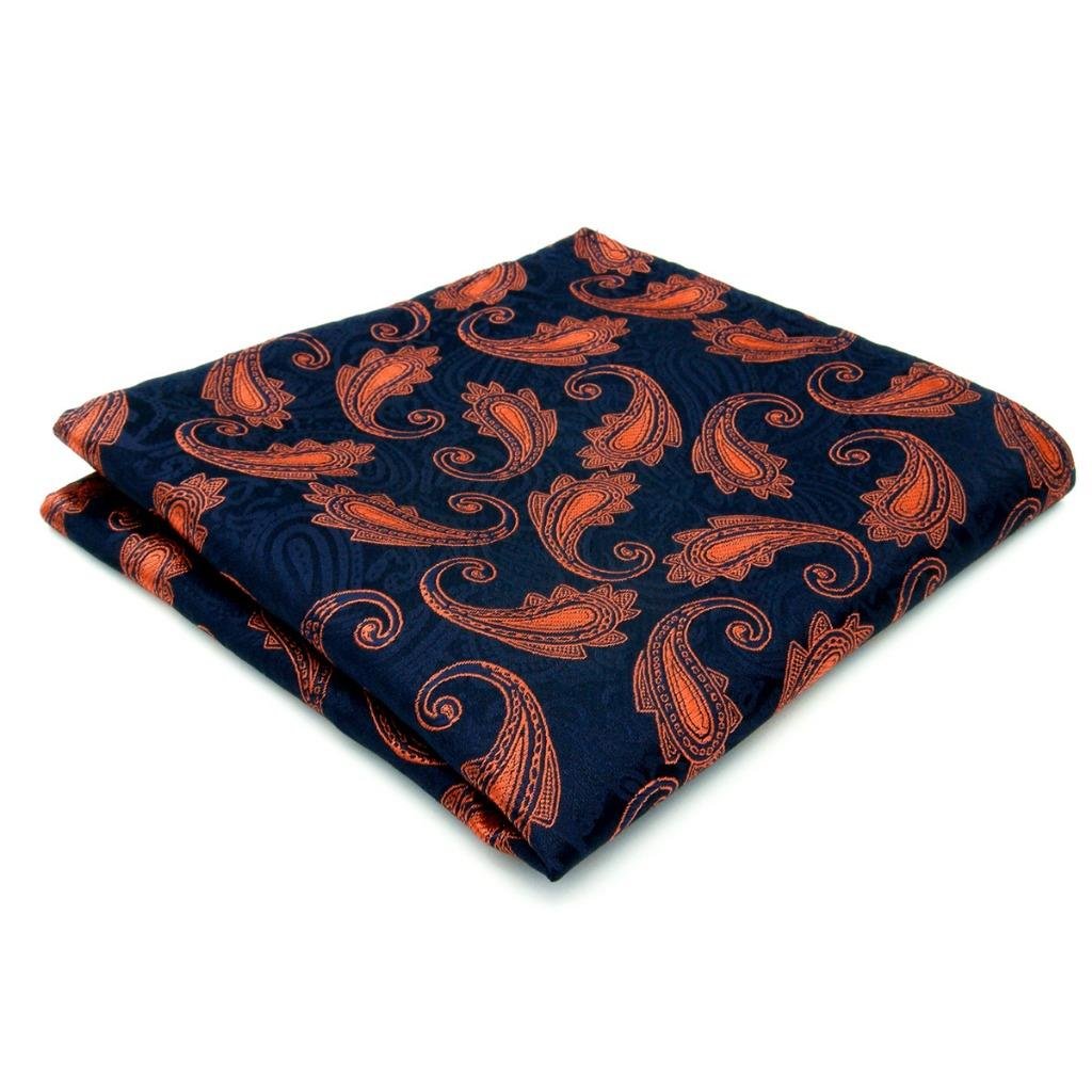 MH25 Mens Pocket Square Paisley Navy Orange Wedding Handkerchief Silk Jacquard Woven Hanky Fashions