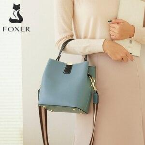 Image 1 - FOXER Cowhide Bucket Bag Lady Messenger Bag Round Women High Quality Stylish Handbag & Totes Elegant Female Bag Large Capacity