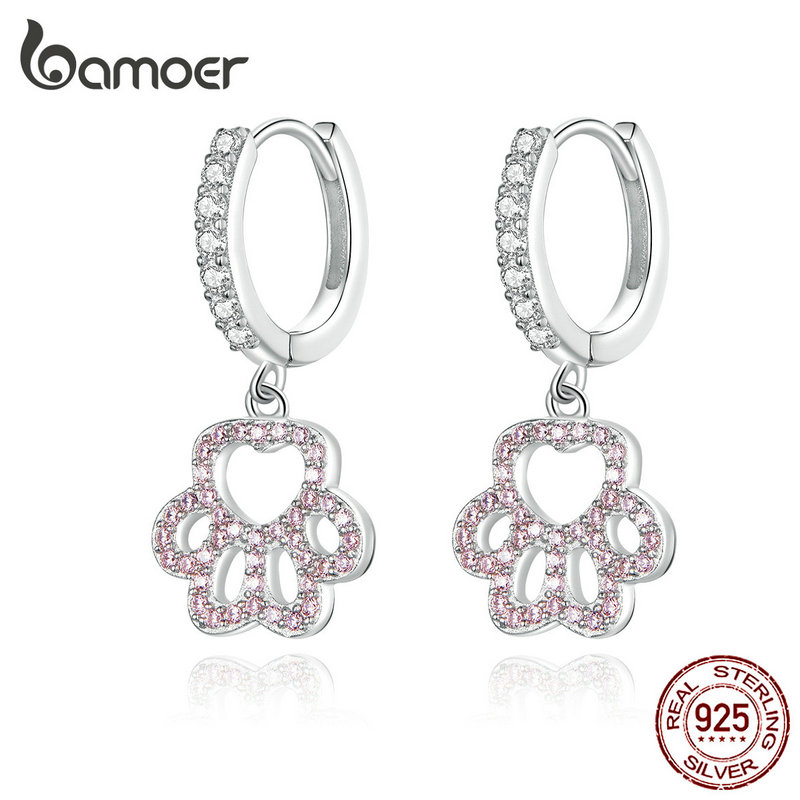 Bamoer Sterling Silver Dog Paw Pink CZ Drop Earrings For Women Wedding Engagement Statement Silver 925 Fashion Jewelry SCE771