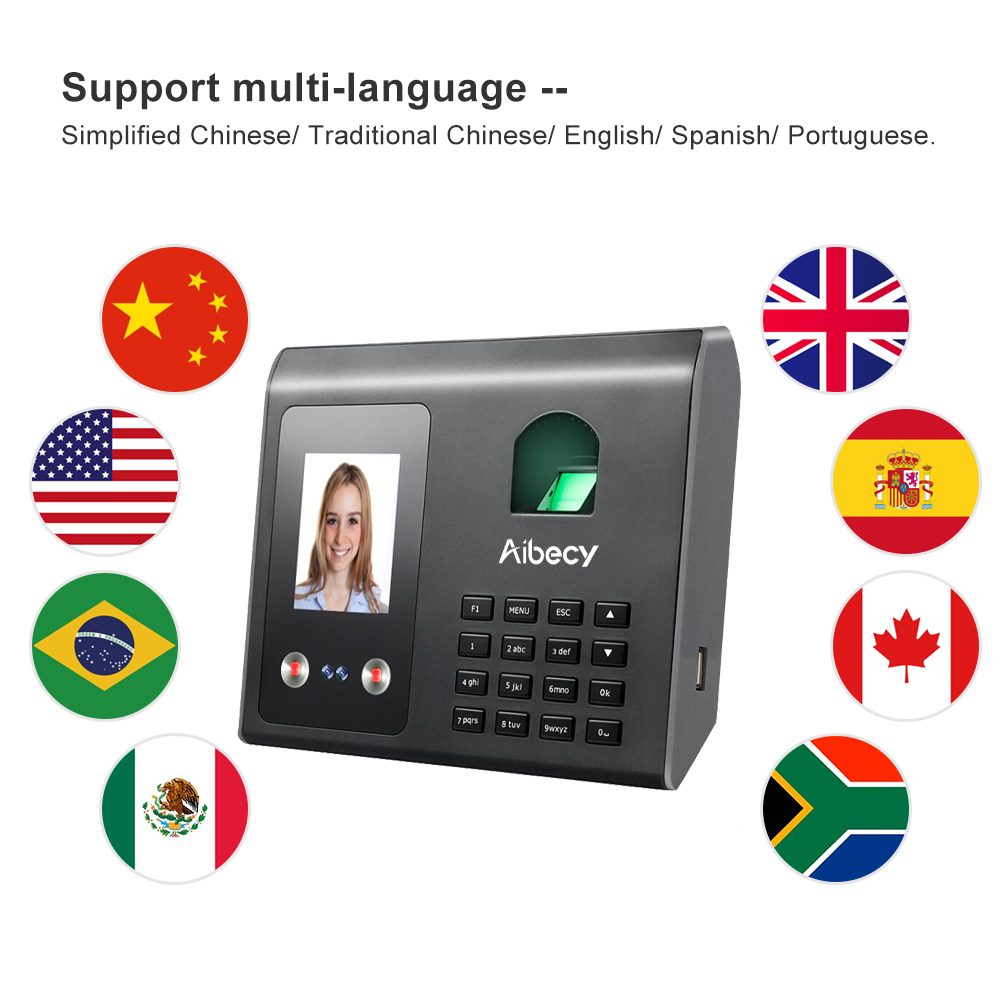 Aibecy Face Fingerprint Password Recognition Mix Biometric Time ClockEmployees with Broadcast  Intelligent Attendance Machine