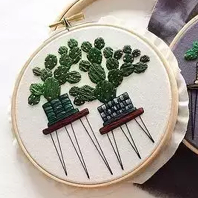Plant Series DIY Handcraft Beginner Embroidery Supplies Cactus Patterns Embroidery Material Package Hanging Painting Decor|Embroidery|   - AliExpress