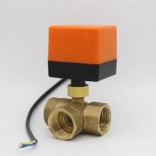Válvula de bola eléctrica motorizada de 3 vías, DN15, DN20, DN25, DN32, válvula de bal de latón, AC220V, AC24V, DC12V, DC24V