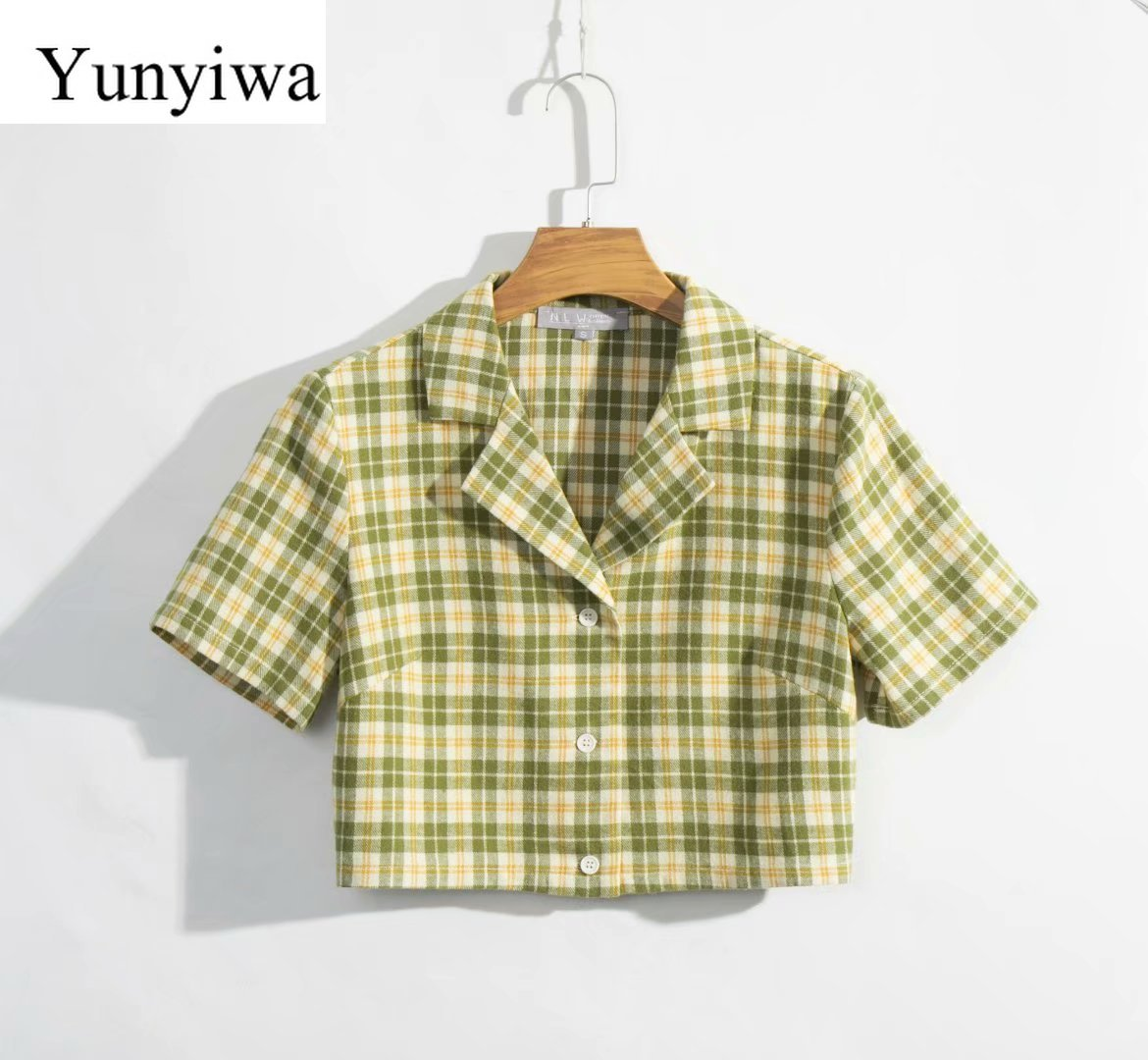 2020 Women's New Slimmed down Short sleeved Plaid Shirt Womens Blouse Sexy Party Shirts Tops Clothing Blusas Mujer De Moda Blouses & Shirts  - AliExpress