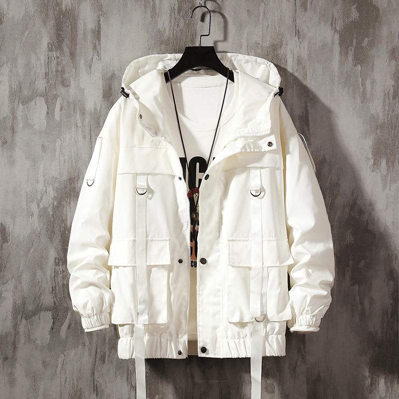 Men Streetwear Hip Hop Bomber Jacket 2020 Man Harajuku Ribbons Pockets Windbreaker Korean Style Fashions Clothing Plus Size