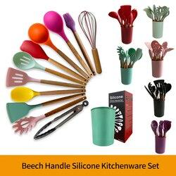 Kitchenware Cooking Utensils Set Food Grade Heat Resistant Kitchen Non-Stick Cooking Baking Tools With Storage Box