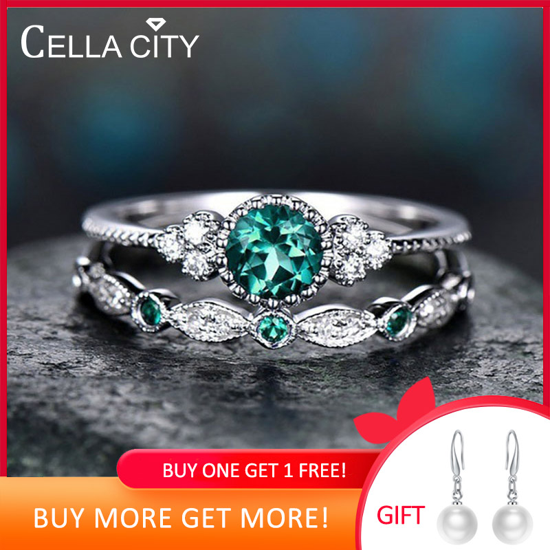 Cellacity Classic Silver 925  Ring For Charm Women With Round Emerald Gemstones  Silver 925 Jewelry Women Party Gift 2pcs/lot