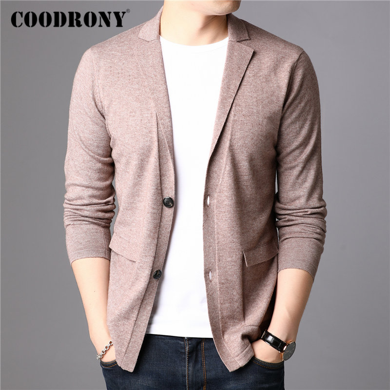 COODRONY Brand Sweater Men Streetwear Fashion Sweater Coat Men With Pocket Autumn Winter Knitted Cotton Wool Cardigan Men 91106