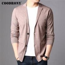 COODRONY marka sweter mężczyźni Streetwear moda sweter płaszcz mężczyźni z kieszeni jesień zima dzianina bawełniana wełniany sweter mężczyzn 91106