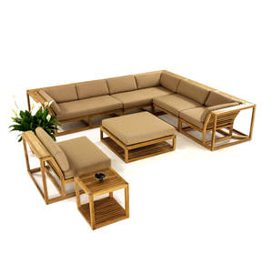 Factory direct sales outdoor teak sofas luxury waterproof patio garden set furniture