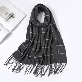 Men Plaid Check Warm Unisex Small Size 180 30cm Brand Designer Winter Cashmere Scarves Men