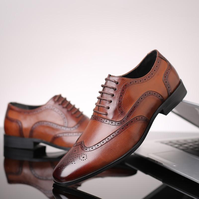 Mens Oxford Classic Wingtip Brogue Formal Dress Shoes
