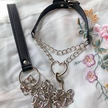 Collier gothique en forme de cœur, chaîne ras du cou harajuku BDSM, anneau de laisse Sexy en acier, jouets de Bondage d'esclave pour jeu de rôle d'amoureux