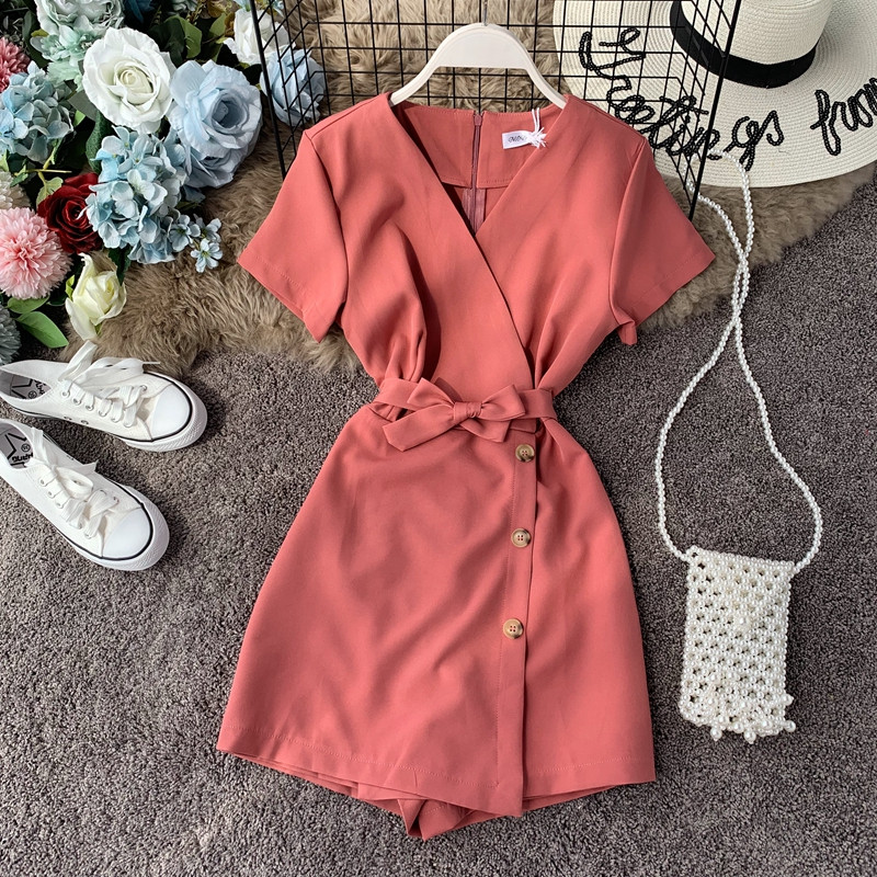 Women's Summer  V-neck Short Sleeves High-waisted Slim Jumpsuit