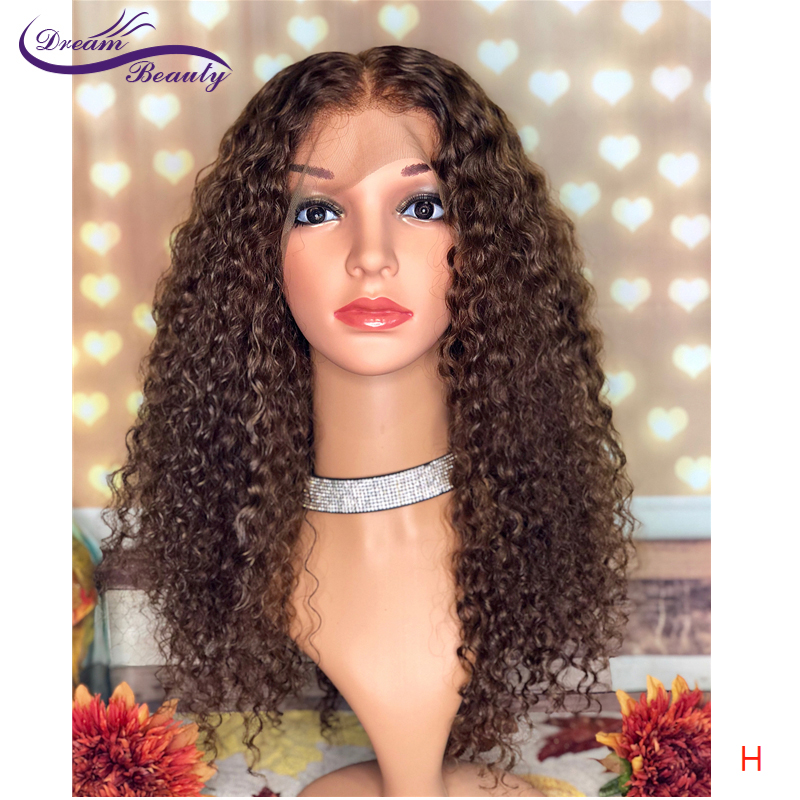 Dream Beauty 13*6 Lace Front Human Hair Wigs With Baby Hair High Ratio Glueless Brazilian Kinky Curly Remy Hair