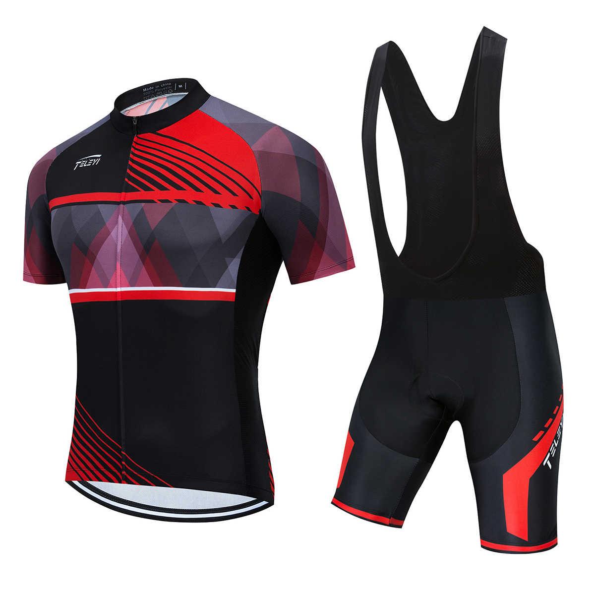 2020 lato szybkoschnący zespół TELEYI kolarstwo Jersey zestaw z krótkim rękawem Maillot Ropa Ciclismo mężczyźni odzież rowerowa MTB Maillot Ciclismo
