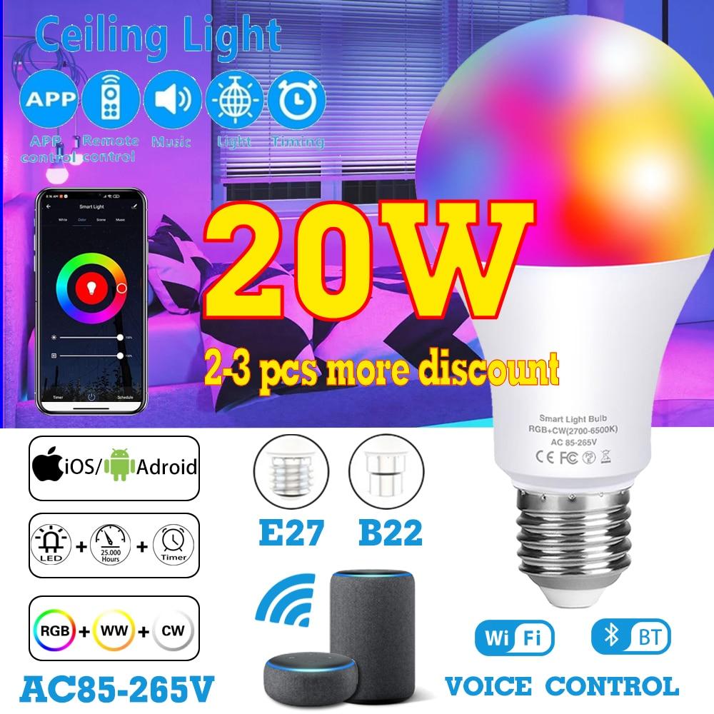 WI-FI или ИК-пульт дистанционного Управление LED RGB Цвет Изменение светодиодные лампы смарт-лампы в виде E27 B22 затемнения светильник RGBW волшебна...