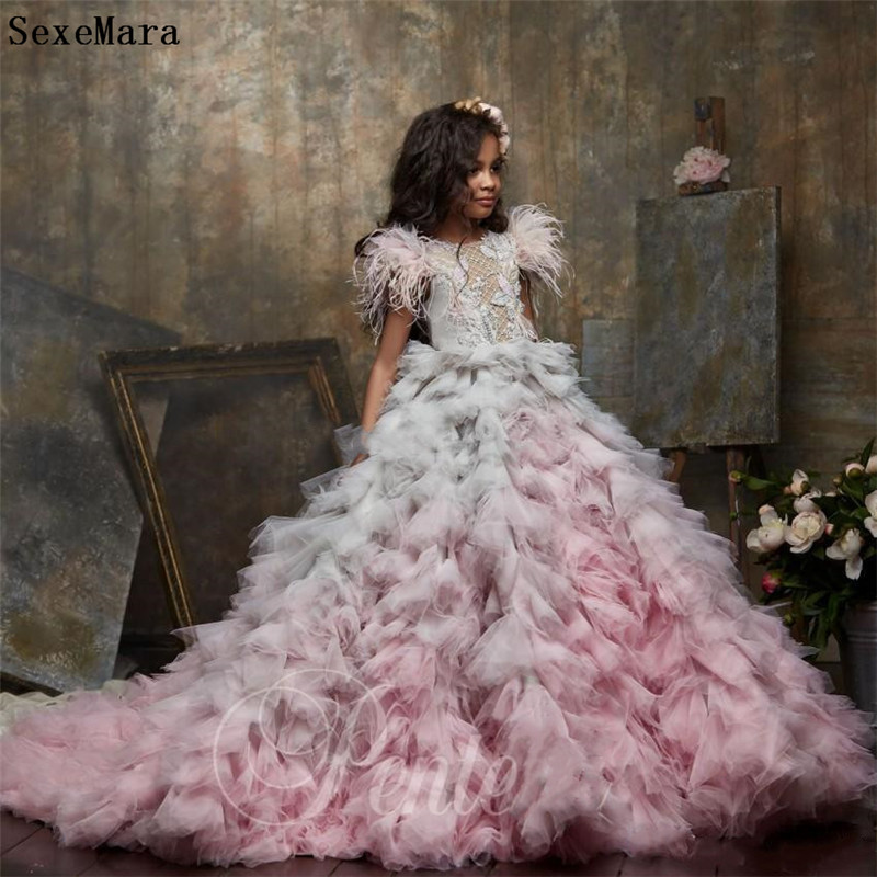 New Arrival Customized Girls Clothes For Party Ball Gown Tiered Skirt Crystals Fur Kids Pageant Gown Birthday Dress