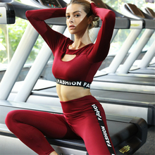 Ariel Sarah Splicing Gym Set Workout Clothes for Women Hygroscopic and Sweat Releasing Wear Top+Push Up Leggings
