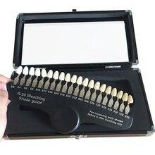 20 cores conjunto de clareamento dos dentes 3d sombra guia cor comparador espelho odontologia luz fria dentes branco branqueamento dental placa