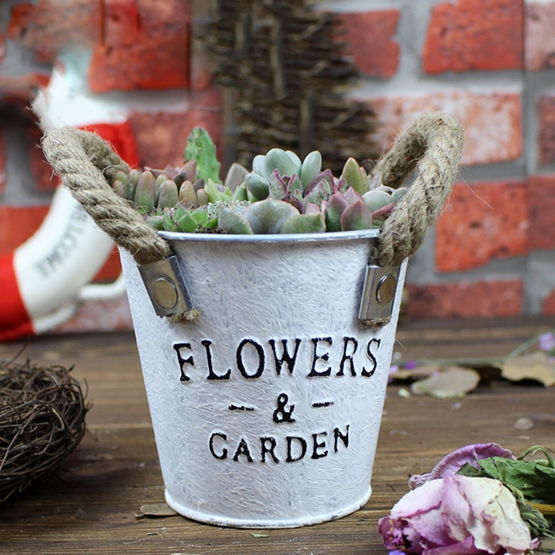 Small Metal Buckets Planters Flower Decorative Vases With Rope Handles GXMA